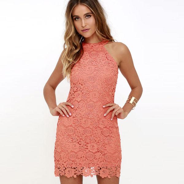 Krajša poletna obleka s čipkami Patricija roza