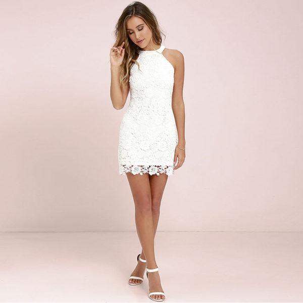 Krajša poletna obleka s čipkami Patricija bela