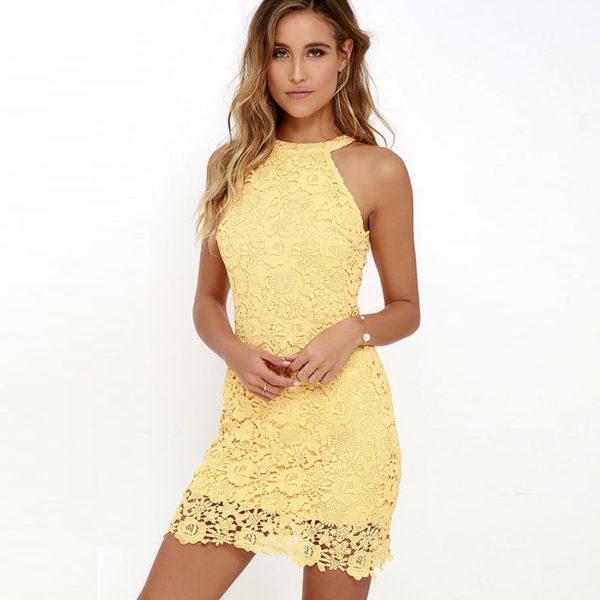 Krajša poletna obleka s čipkami Patricija rumena