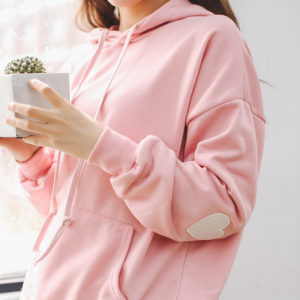 Jopica s kapuco in srčki na komolcih - hoodie roza