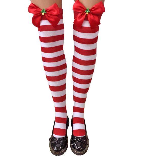 """""""Božične nogavice. nadkolenke Striped Christmas. rdeče/bele"""" - Kategorije  """"Pustni kostumi 2020  BOŽIČNI KOSTUMI"""""""