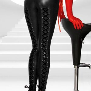 """Hlače legice imitacija usnja Corset Legs črne - Kategorije  """"Oblačila  Legice - Pajkice  Legice imitacija usnja"""""""