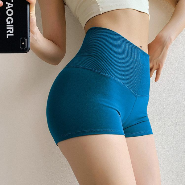 Kratke elastične športne hlače za prosti čas in vadbo modre