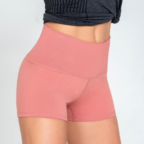 Kratke elastične športne hlače za prosti čas in vadbo roza