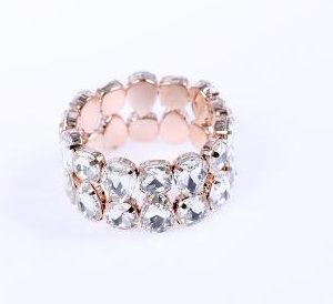 Elegantna zapestnica s kristali v dveh vrstah