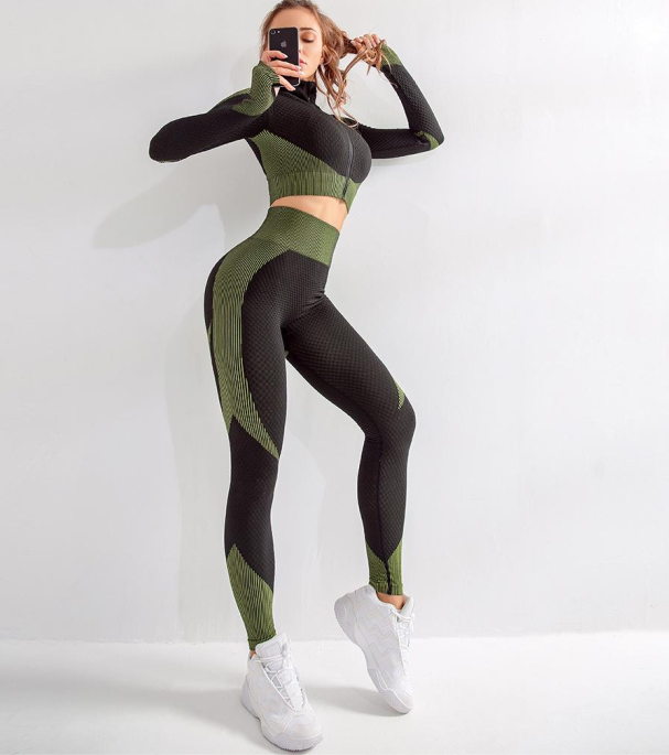 Zelen komplet za vadbo na zadrgo