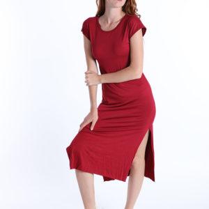 Bordo rdeča obleka iz viskoze
