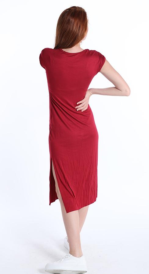 Viskozna obleka za poteltje rdeče bordo