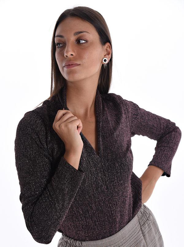 Elegantna bluza iz svetlečega lurexa Spedenana