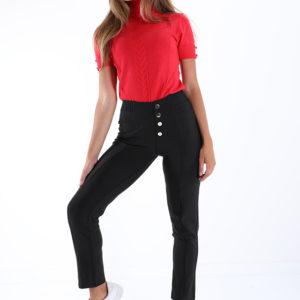 Črne visoke lagice-hlače z gumbi