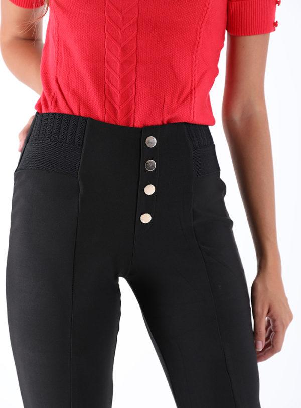 Bombažne hlače z visokim pasom črne barve