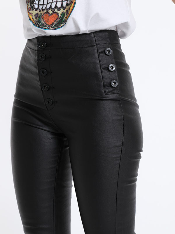 Črne hlače iz eko usnja z visokim pasom