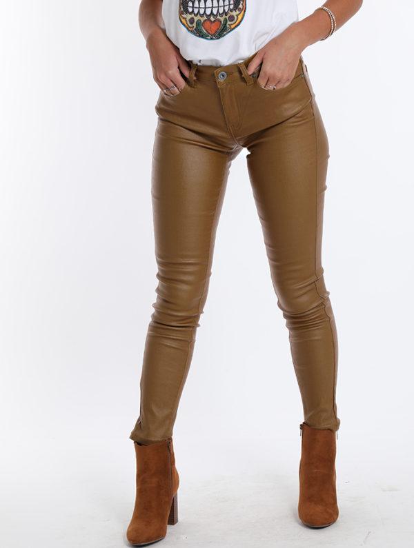 Rjave hlače iz eko usnja za Spedenano
