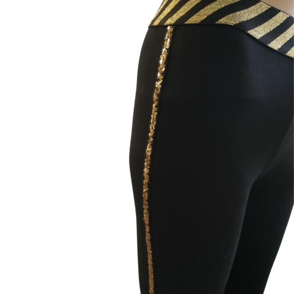 Elastične pajkice črne barve z zlato črto