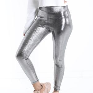 Srebrne svetleče hlače iz elastičnega materiala