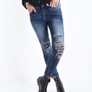 Jeans hlače modre strgane na kolenih
