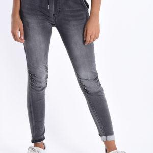 Jeans hlače z elastiko v pasu