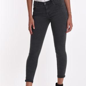 Temno sive elastične jeans hlače, kavbojke nagubano blago skinny
