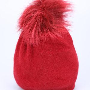 Kapa zimska rdeče barve s kristalčki in cofom