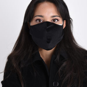 Maska žametna črna mehka
