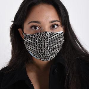 Maska črna z geometrijskim vzorcem