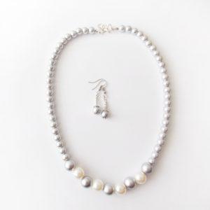 Nakit komplet verižica in uhani iz srebrnih perl