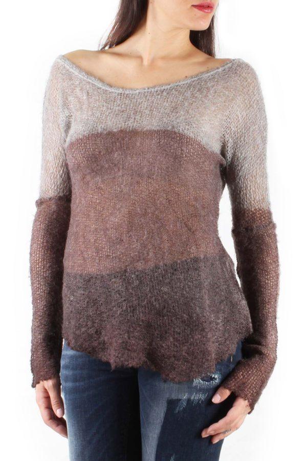 Rjava prosojna majica pletena
