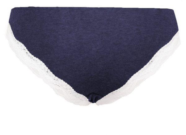 Spodnje hlačke bombažne s čipko modre barve