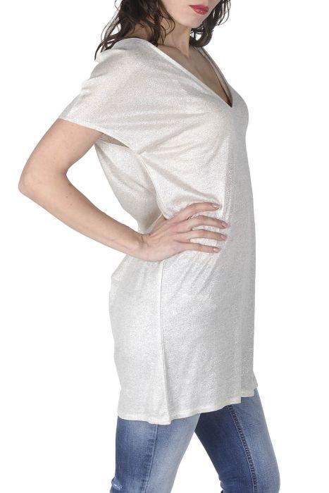 Majčka s kratkimi rokavi srebrne barve, daljši model