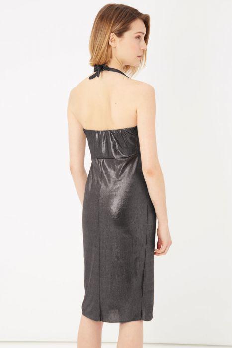 Obleka kratka srebrne barve, z odprtim hrbtom