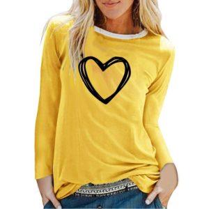 Majčka z dolgimi rokavi srce rumena